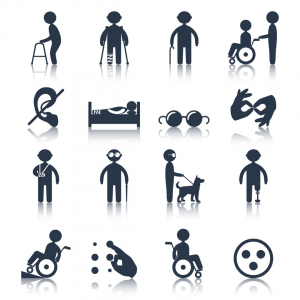 Drawings that show a variety of disabilities.